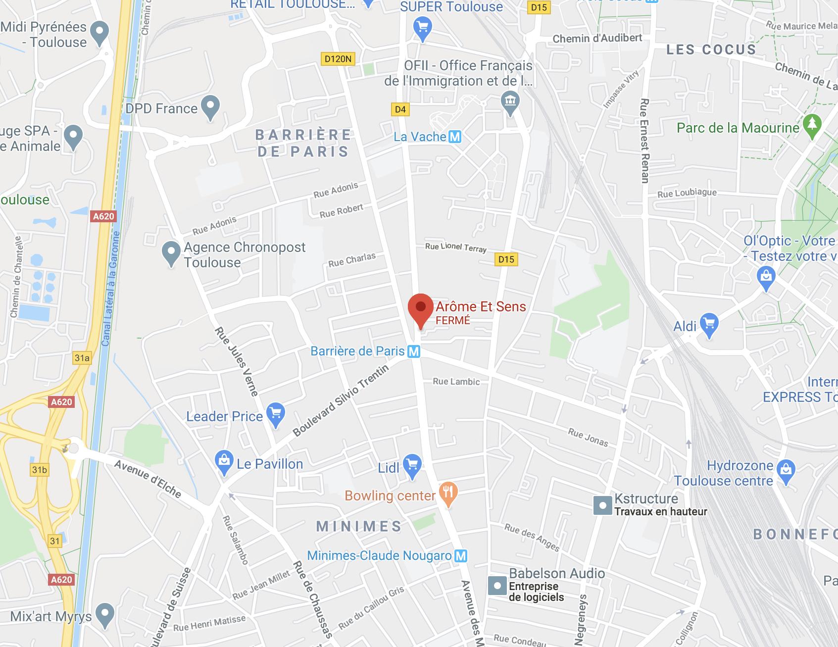 Localisation de notre institut de beauté Arôme et Sens